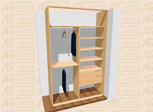 Návrh vestavěné skříně S-160 B