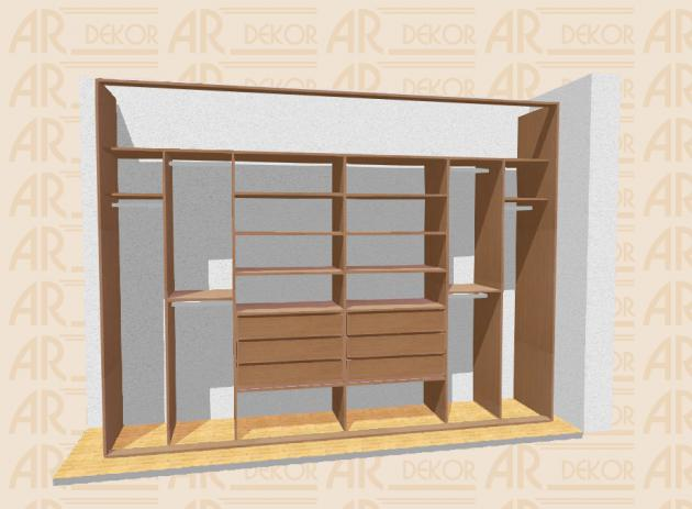 Návrh vestavěné skříně S-340 B